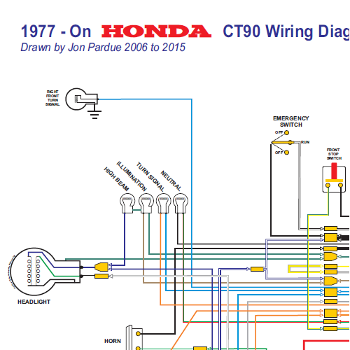 1977 on CT90 Wiring Diagram All systems 500x500 honda ct90 wiring diagram 1977 on all systems home of the pardue honda motorcycle headlight wiring diagram at n-0.co