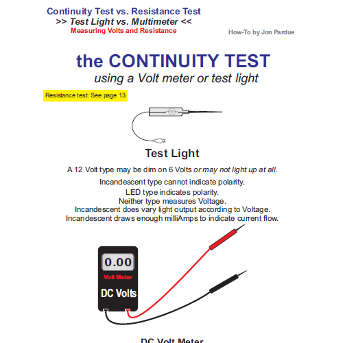 continuity testing test light vs multimeter how to